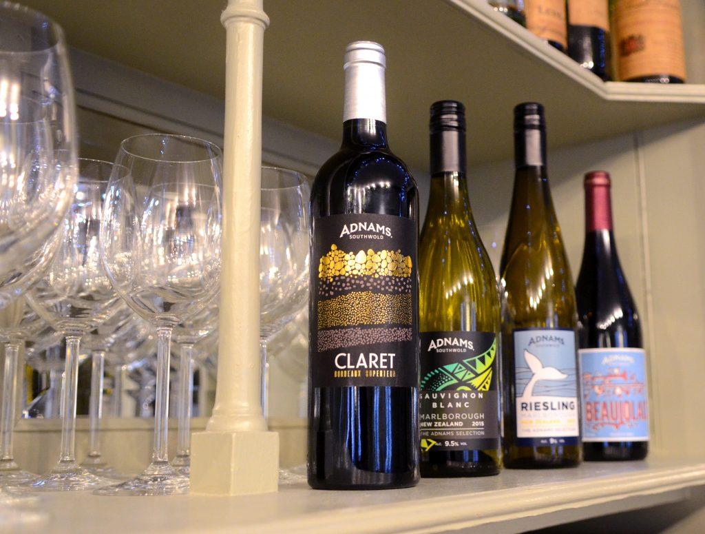 Adnams Wine Bottles with Spring illustrations