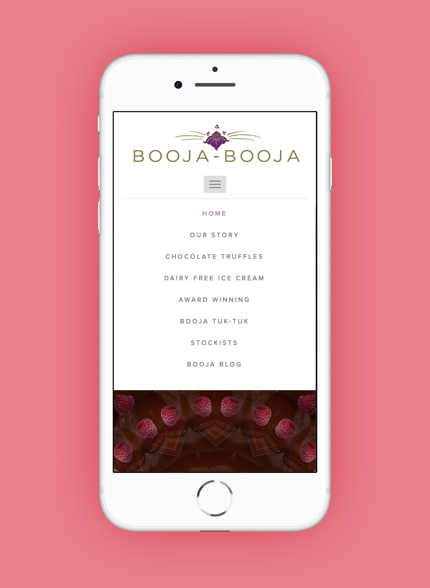 Booja-Booja mobile webpage