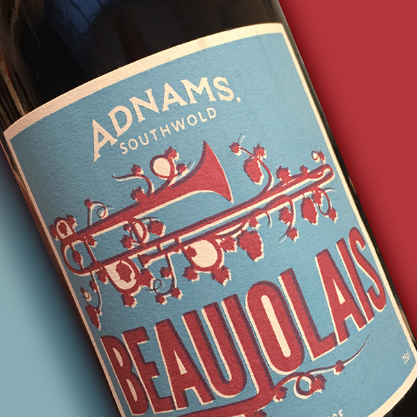 Adnams wine label beaujolais close up