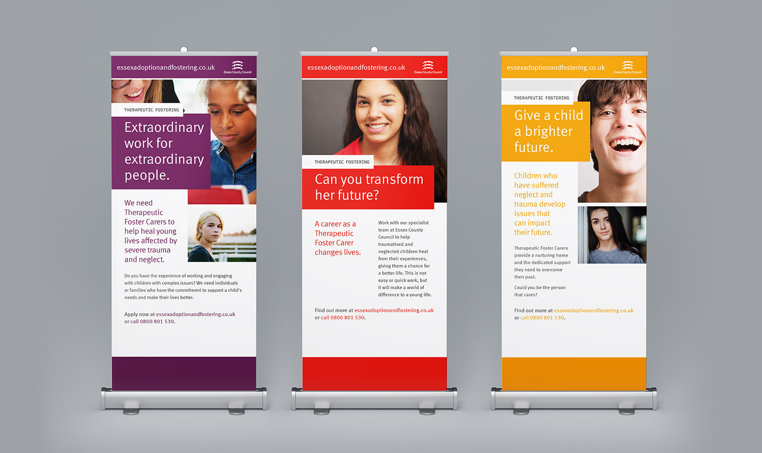 Essex County Council Therapeutic Fostering pull up banners