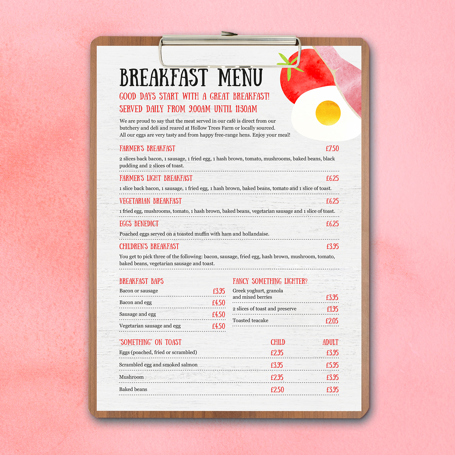 Hollow Trees Breakfast Menu