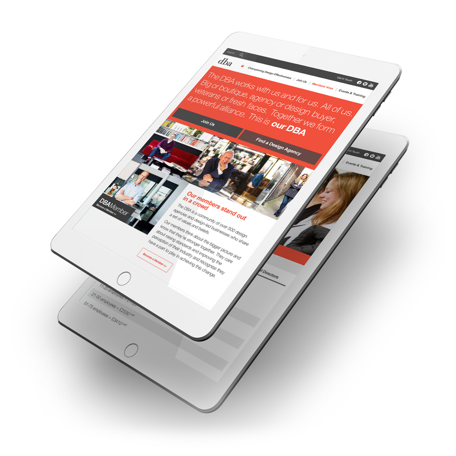 DBA website on tablet