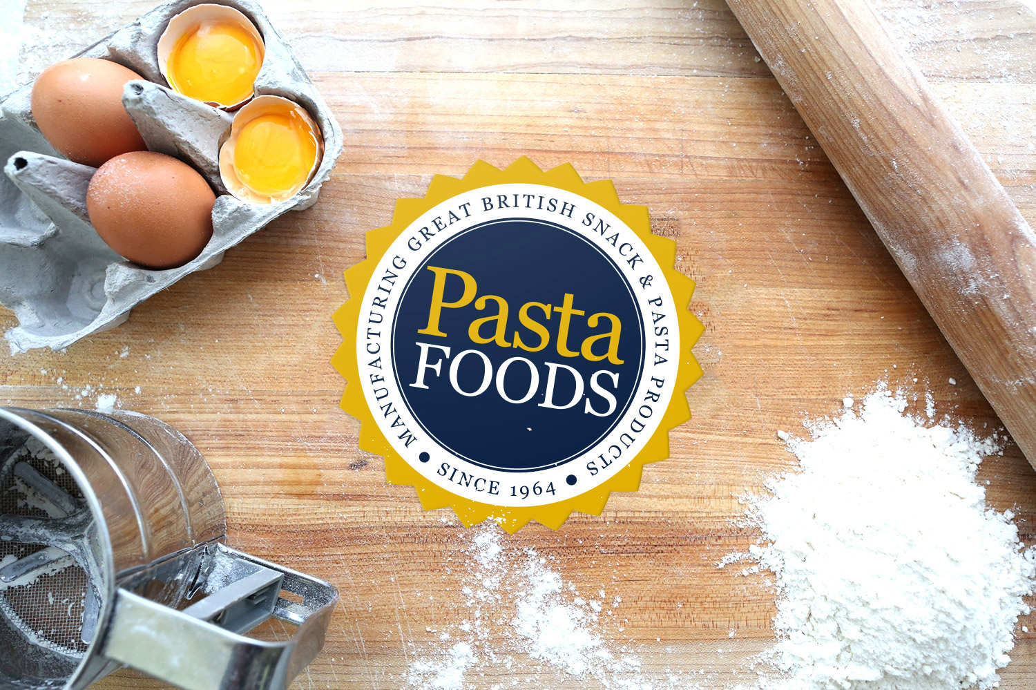 Pasta Foods logo on worktop