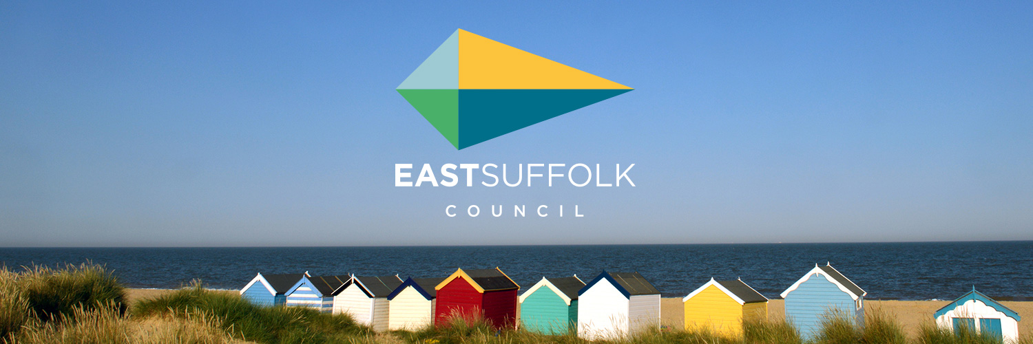 East Suffolk Council logo above Southwold Beach huts