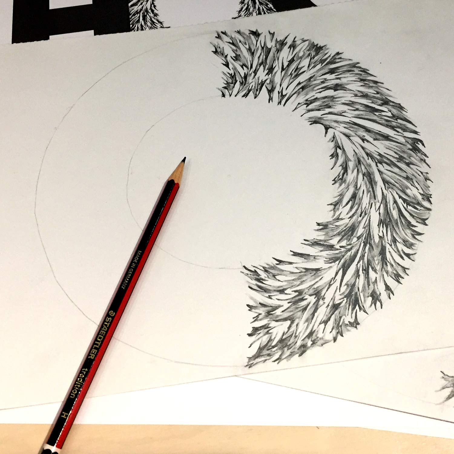 Creating The Hog logo in progress