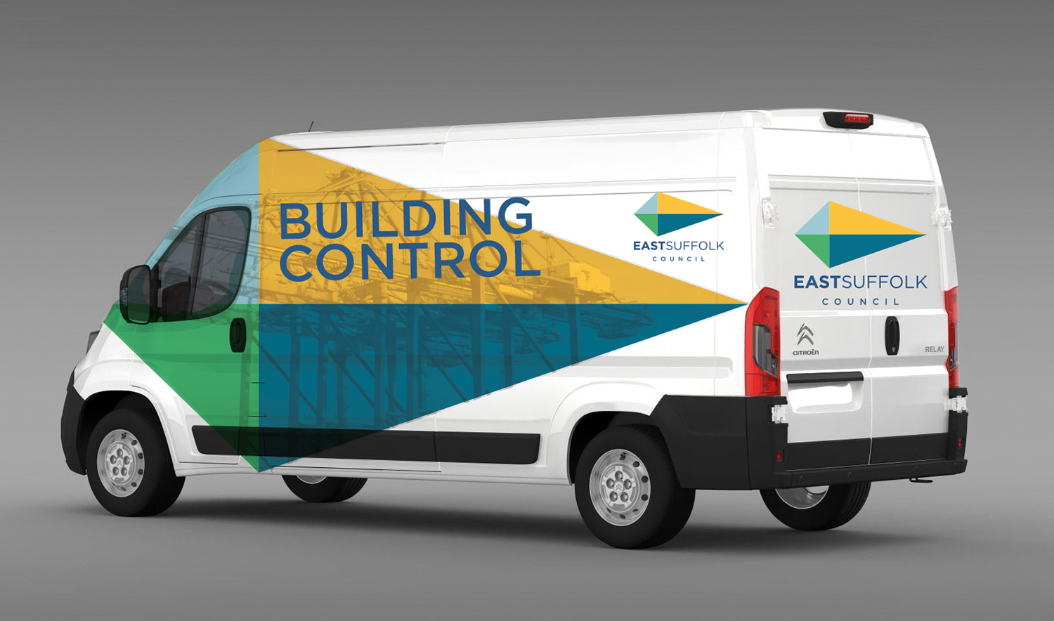 East Suffolk Council logo on a van