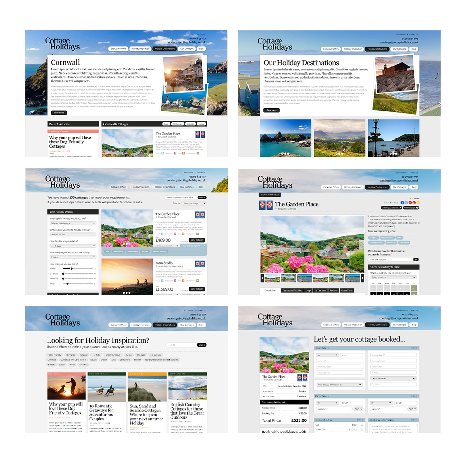 Cottage Holidays desktop site