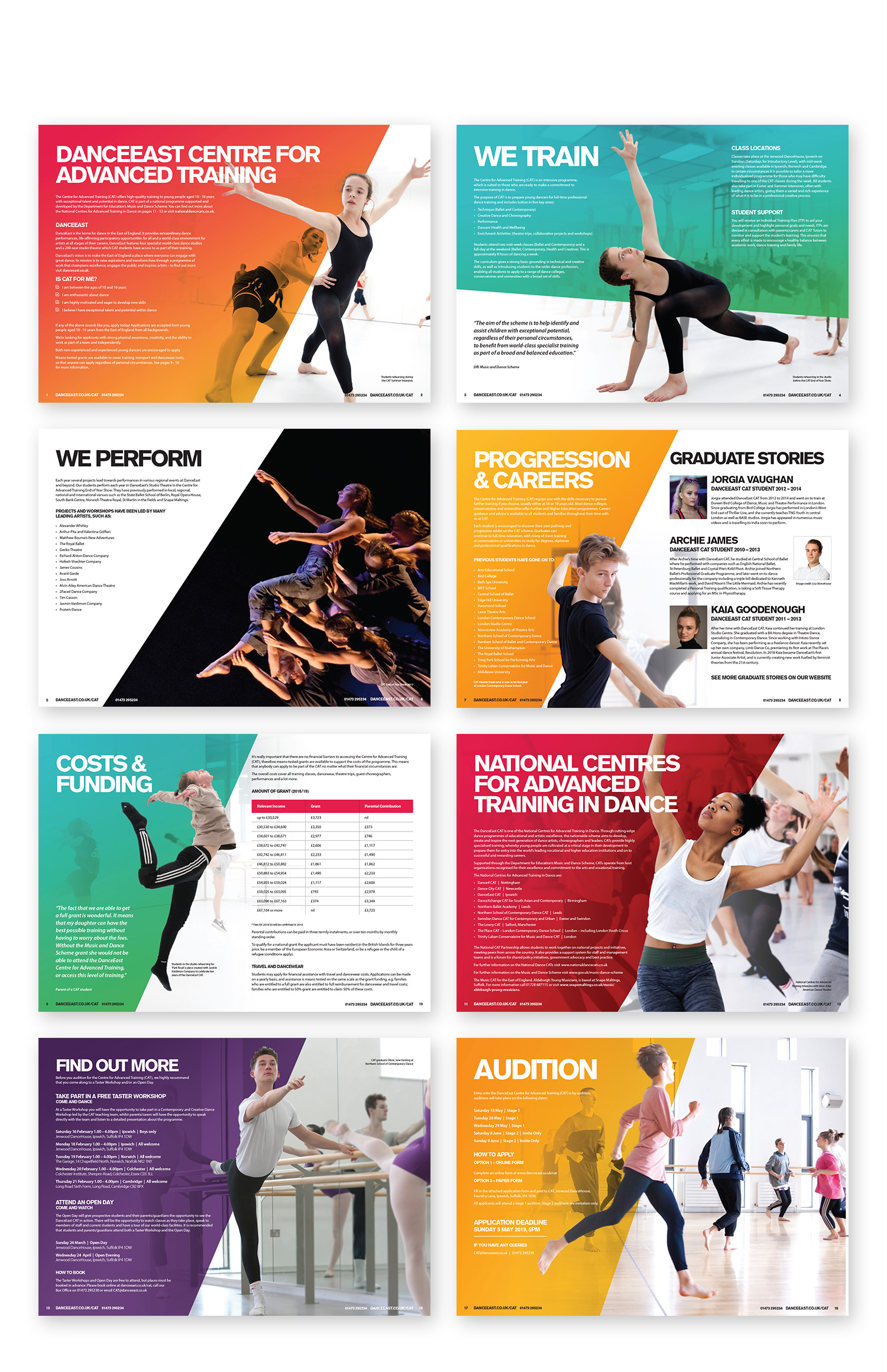 DANCEEAST CATS brochure page spreads