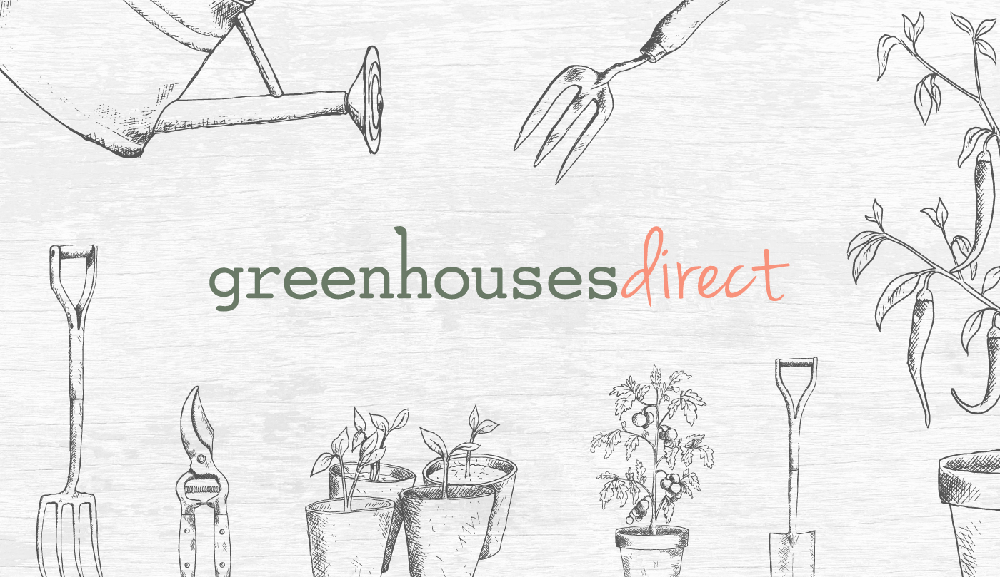 Greenhouses Direct logo and illustrations