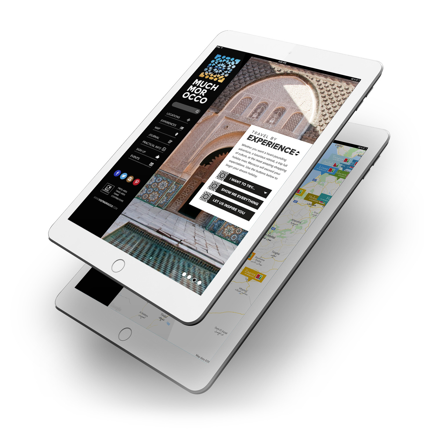 Much Morocco website tablet