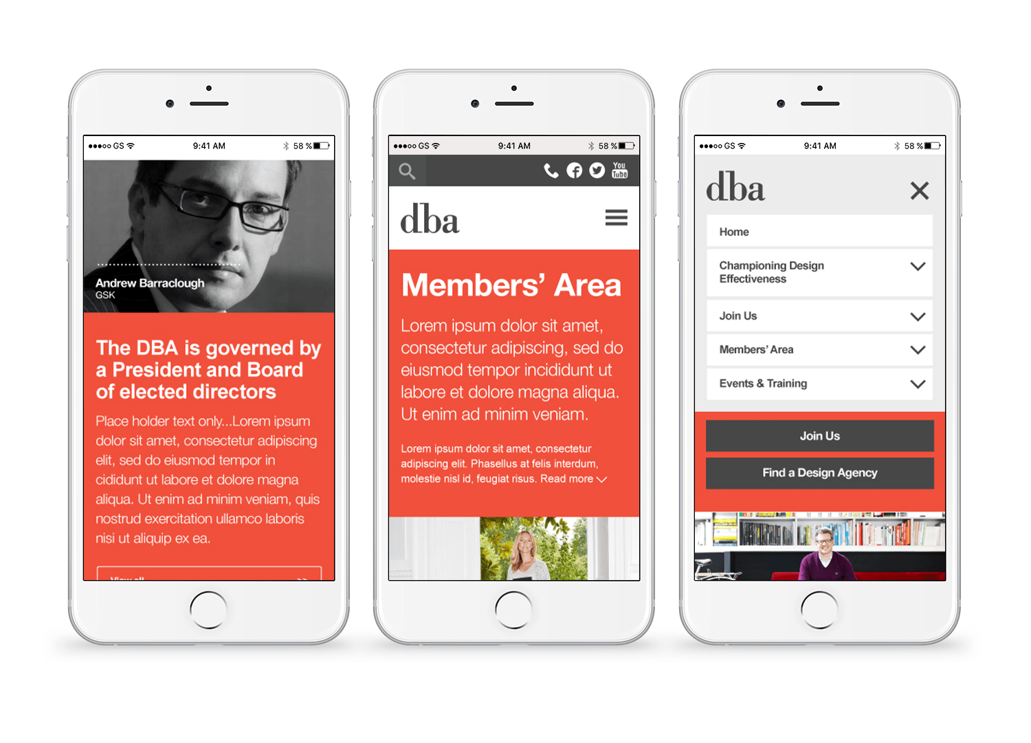 DBA website on mobile