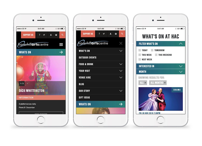 Haverhill Arts Centre website mobile site