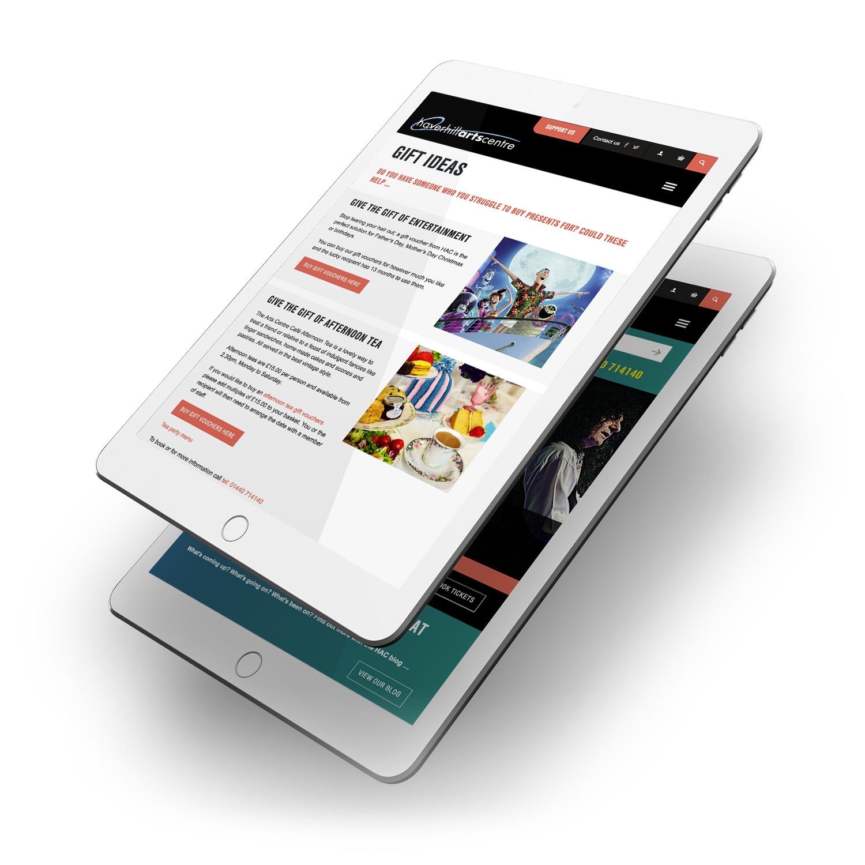 Haverhill Arts Centre website tablet pages
