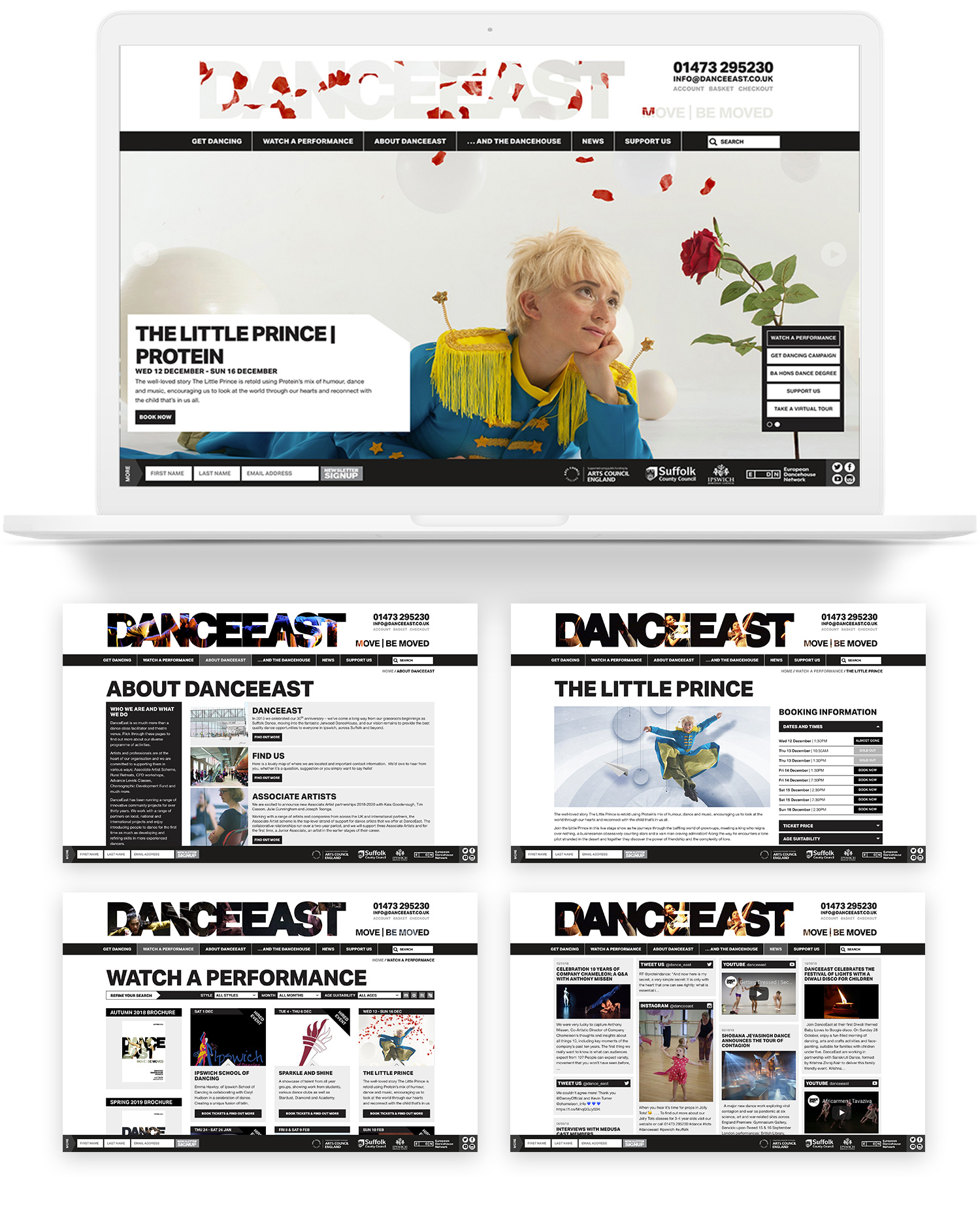 DanceEast website pages