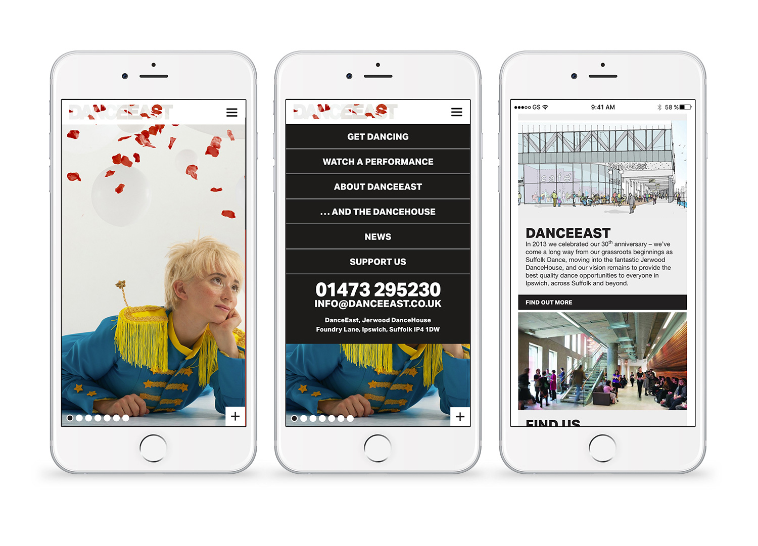 DanceEast website mobile pages