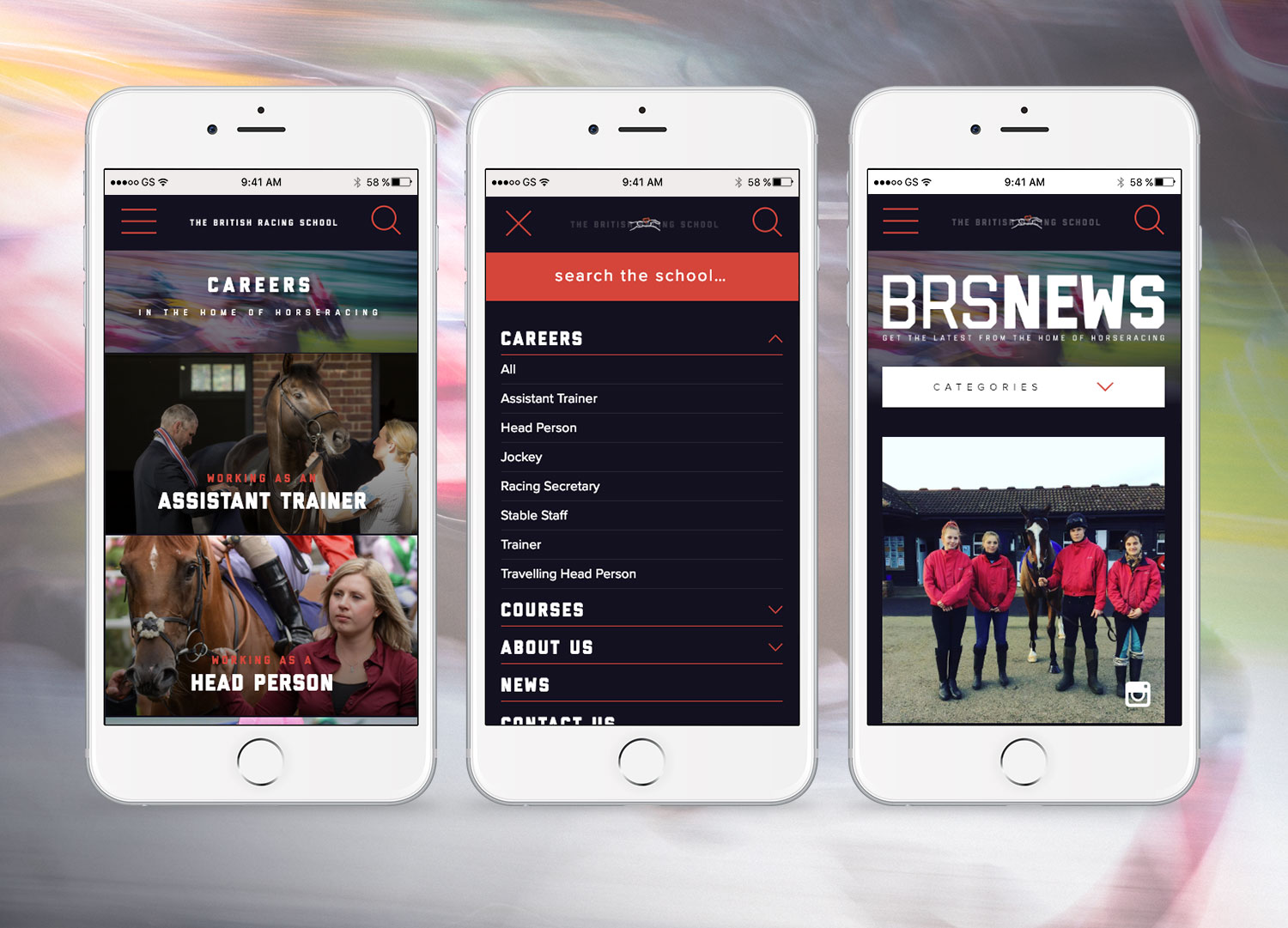British Racing School mobile pages