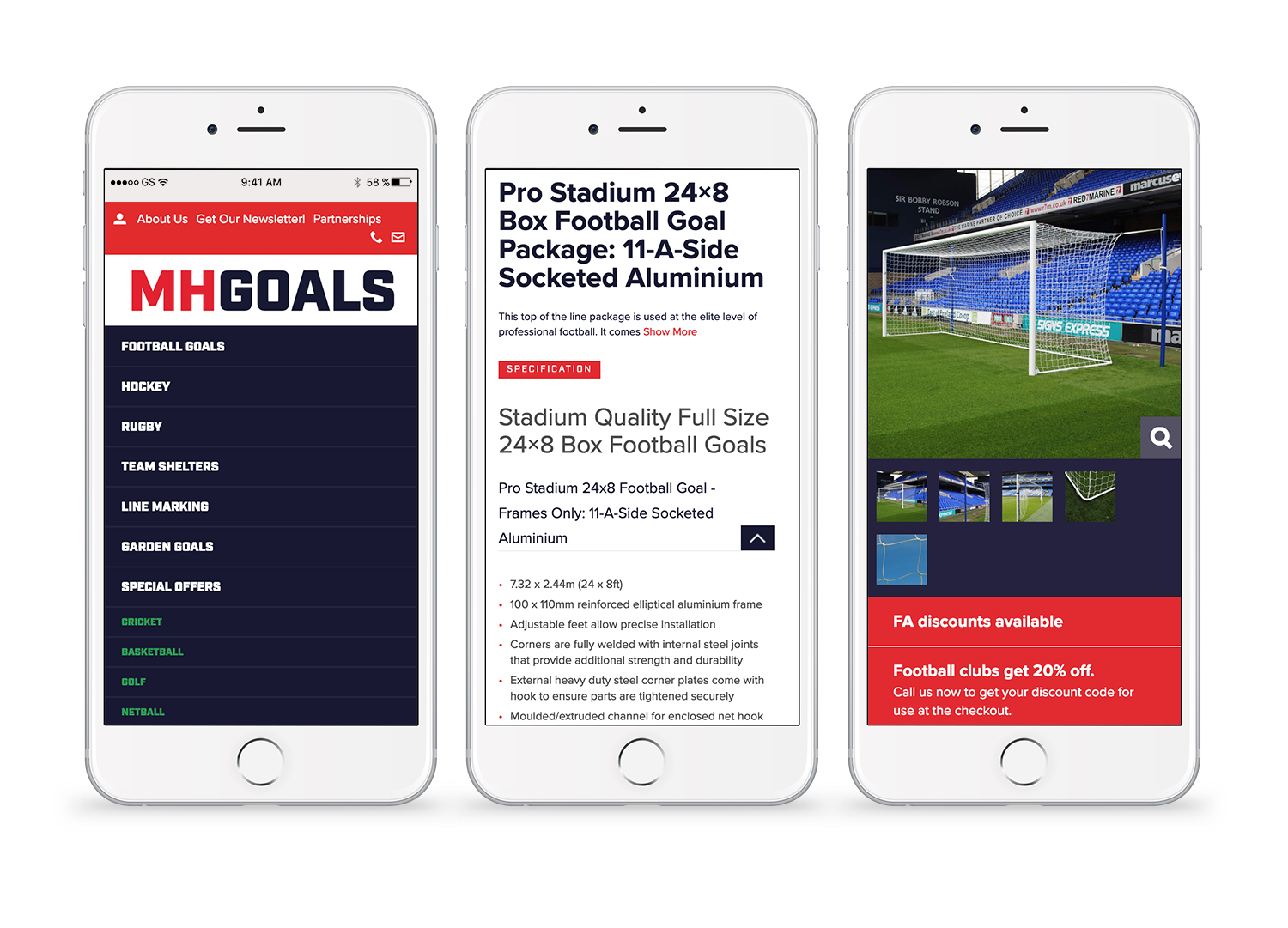 MH Goals mobile site pages