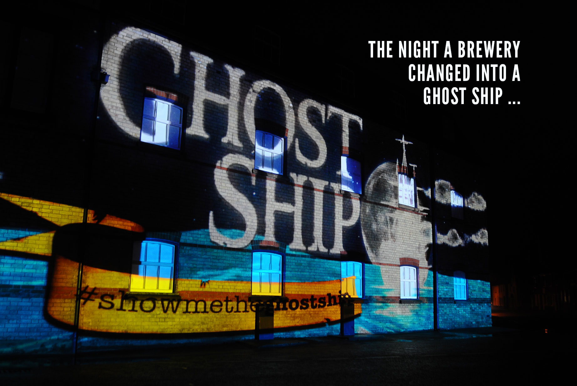 Adnams Ghost Ship Launch projection