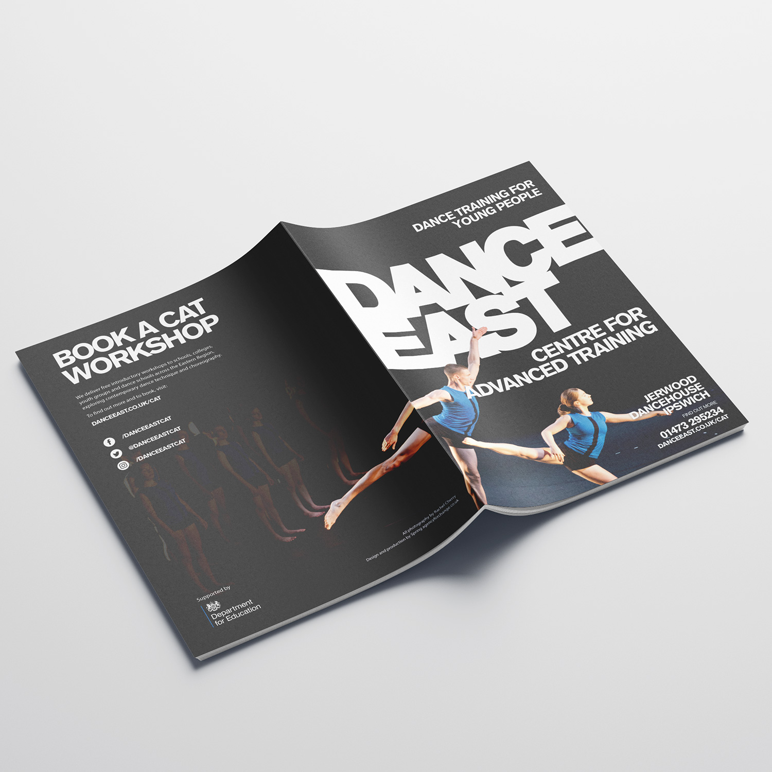 DANCEEAST CATS brochure front and back cover