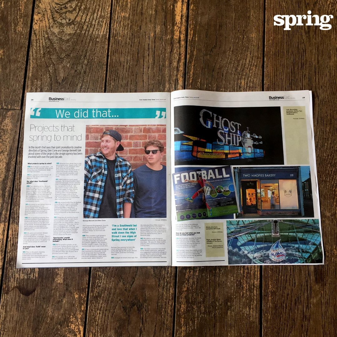 For #SpringLife today, a fabulous spread about #Springprojects by our new #creativedirectors George and Glen. From #ghostship to #goals and loads more, it's a good read!  @eadt24 #businesseast #agencyforchange #makeexcellentwork #liveourvision