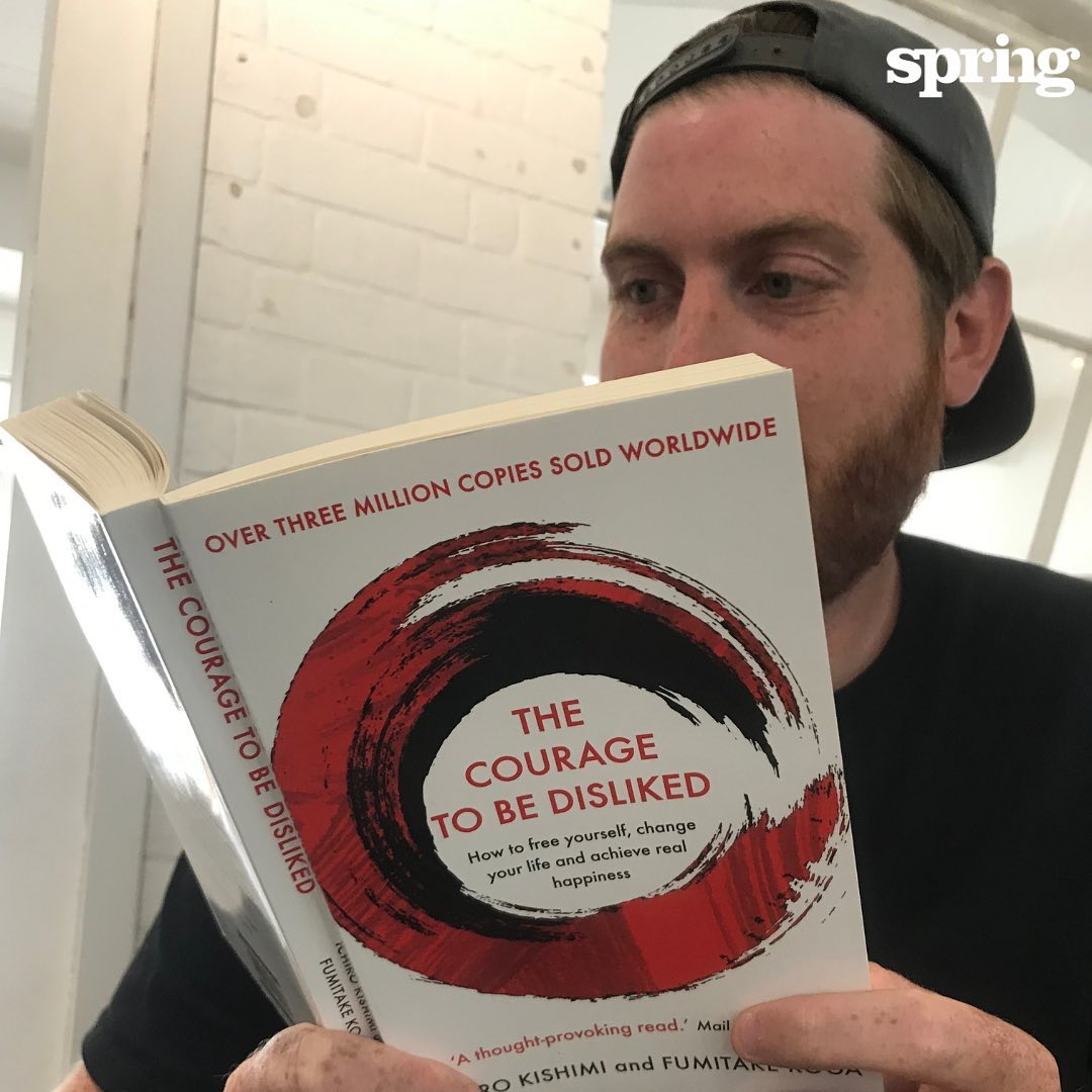 This is a book about #change and #potential. Springer George is stuck into #thecouragetobedisliked for today's #SpringLife .  It's about the #philosophy of #Adler who talks of the #couragetochange and #behappy .  The core is that we are all free to choose our own path in life, and must use #stories to progress, not hold ourselves back. It's a brilliant read.  #agencyforchange #improvepeopleslives