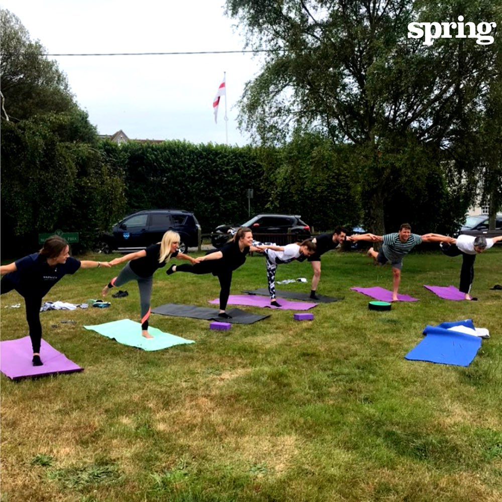 Today's #SpringLife and a posse of #Springers had a great lunchtime session with @sarahrousyoga to boost our #positiveenergy for the working week .  Here at Spring, we strongly believe that to #makeexcellentwork we need to nurture our bodies as well as our minds.  #mensanaincorporesano Yoga has become a fortnightly ritual and is very popular with our #Springers who want to improve their balance.  Get ready for boxing next week!  #agencyforchange #improvepeopleslives